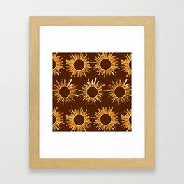 Art Deco Starburst in Brown Framed Art Print
