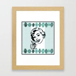 Mid-Century Modern Art Cocktail Teal Framed Art Print