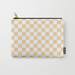 Small Checkered - White and Sunset Orange Carry-All Pouch