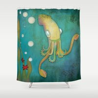 squid Shower Curtains featuring Squid by Monica O