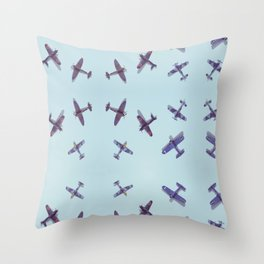Toys#plane#1942#blue Throw Pillow