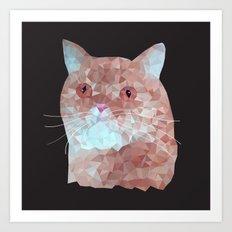 Low poly red cat 1 Art Print