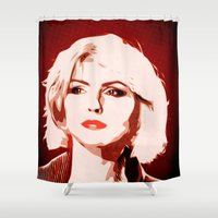 blondie Shower Curtains featuring Blondie - New Wave - Pop Art by William Cuccio aka WCSmack