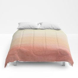 Ombre Rose Dawn Watercolor Hand-Painted Effect Comforters