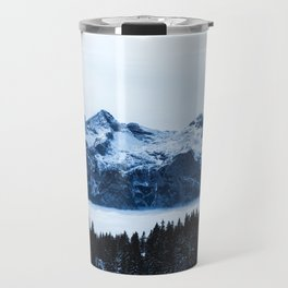 Mountains, spruce forest and clouds Travel Mug