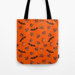 Halloween Jack O' Lantern Pumpkins and Bats Seamless Repeating Pattern Tote Bag