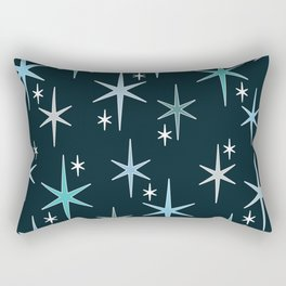 Mid Century Modern Star Sky Blue Rectangular Pillow