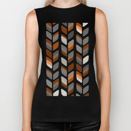 Modern Rectangle Print with Retro Abstract Leaf Pattern Biker Tank
