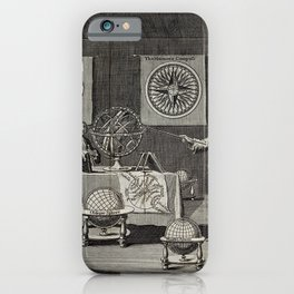 Engraving: the First Lecture in the Sciences of Geography and Astronomy (1748) iPhone Case