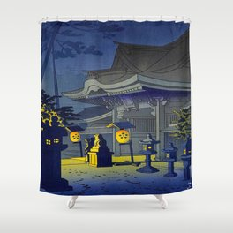 Japanese Woodblock Print Vintage Asian Art Colorful Woodblock Prints Shrine At Night Lantern Shower Curtain
