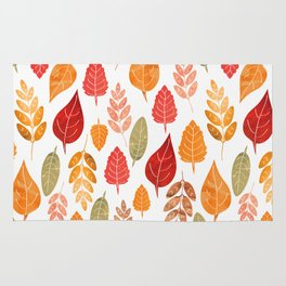 Painted Autumn Leaves Pattern Rug