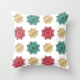 Holiday star pattern Throw Pillow