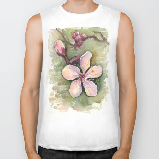 Cherry Blossom Watercolor Painting | Spring Flowers Biker Tank