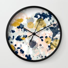 Noel - navy mint gold painted abstract brushstrokes minimal modern canvas art painting Wall Clock