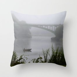 Foggy Fishing Day on the Delaware River Throw Pillow