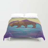 buffalo Duvet Covers featuring Buffalo Country by Moonshine Madness