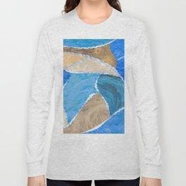 blue smeared patchwork Long Sleeve T-shirt