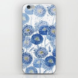 blue indigo dandelion pattern watercolor iPhone Skin