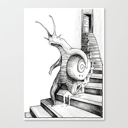 SNAIL WALKING DOWN THE STAIRS Canvas Print