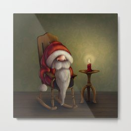 New edit: Little Santa in his rocking chair Metal Print
