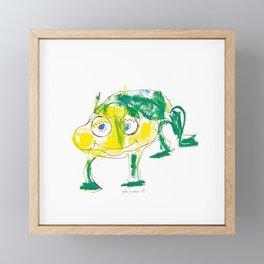Crazy frog illustration, green frog design, frog pattern for children Framed Mini Art Print