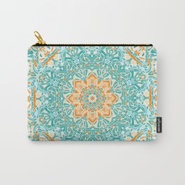 Orange and Turquoise Floral Mandala Carry-All Pouch
