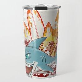 shark character cartoon over surfboard Travel Mug