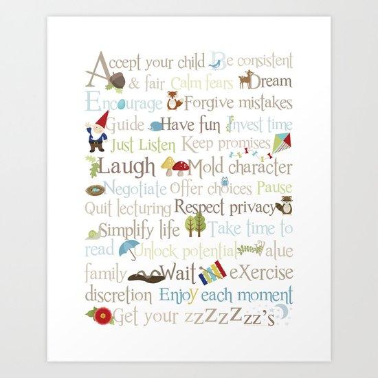 ABCs of Parenting - Woodland Art Print