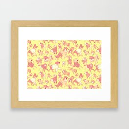 Dogs In Sweaters (Yellow) Framed Art Print