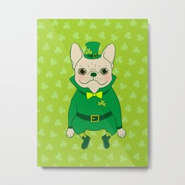 Cute French Bulldog is Feeling Lucky on St. Patrick's Day Metal Print