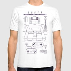 Super Entertainment System (light) SMALL Mens Fitted Tee White