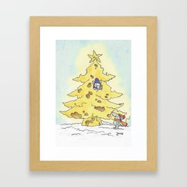 Merry Christmas greeting card by Nicole Janes Framed Art Print