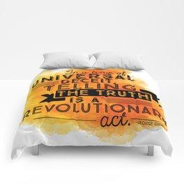 Revolutionary Act - quote design Comforters