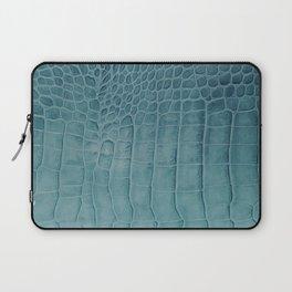 Croco leather effect - Aqua blue Laptop Sleeve