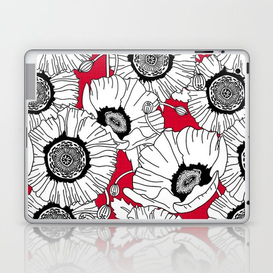 Black and White Poppies in a Red Vase Laptop & iPad Skin