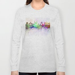 Tehran skyline in watercolor background Long Sleeve T-shirt