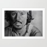 johnny depp Art Prints featuring Johnny Depp by Brooke Shane
