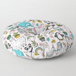 Llama and Friends, Tween Print, Narwhal, Panda,Unicorns, Penguins, Emoji Art Print Floor Pillow