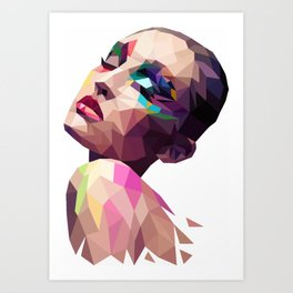 Mina - the Polygonal woman Art Print