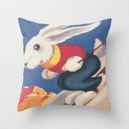 Dolomiti Ski Bunny Vintage Poster Throw Pillow