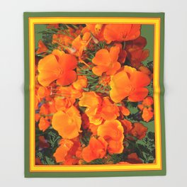 Sage Green Art Golden California Poppies Design Throw Blanket