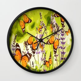 Butterflies and flowers - summery atmosphere in late summer - #pivivikstrm #buyart Wall Clock