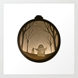 Penguin playing in the snow, Christmas Bauble Paper Cut Art Print