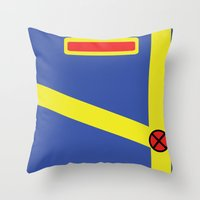 xmen Throw Pillows featuring Cyclops - Minimalist - XMen by Adrian Mentus