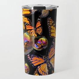 SURREAL MONARCH BUTTERFLIES & IRIDESCENT SOAP BUBBLES ON  BLACK ART Travel Mug