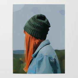 Red head girl with beanie and jeans jacket outdoors Poster