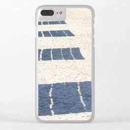 Shadows of empty benches Clear iPhone Case