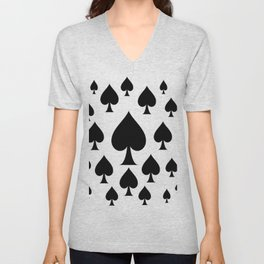 LOTS OF DECORATIVE BLACK SPADES CASINO ART Unisex V-Neck