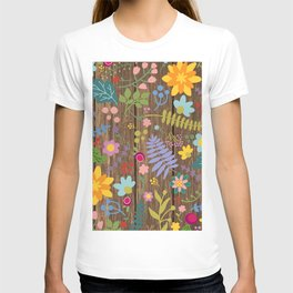 Rustic wood planks and colorful flowers T-shirt