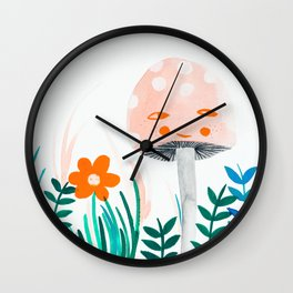 pink mushroom with floral elements Wall Clock